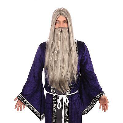 Zauberer Gandalf Dumbledore Merlin Kostüm Grau Lange Perücke und Bart Satz
