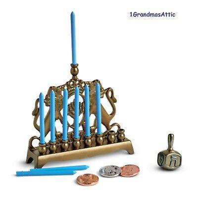 (American Girl Rebecca's Menorah & Dreidel NIB Coins Gelt Candles Hanukkah Ret.)