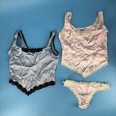 NWOT Treesha Set 2 Camisoles 1 Thong Pink Blue Size Small Lot Silk Pajamas  Camisole Thong Set