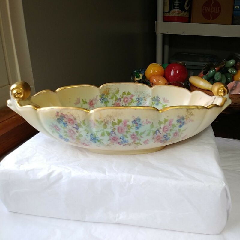 Vtg Abingdon Console Bowl Floral And Gilded Hand Painted Mid Century  Made USA
