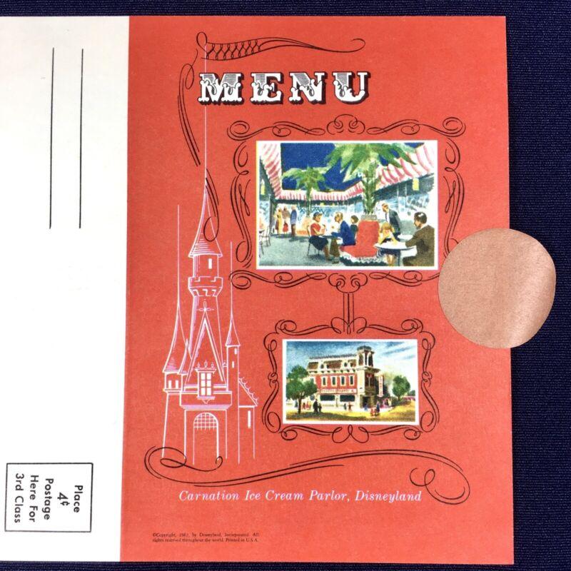 Vintage Genuine 1962 Carnation in Disneyland Restaurant Menu Card-MINT! UNFOLDED