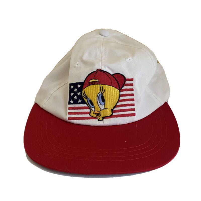 Vintage 1995 Looney Tunes Tweety Bird American USA Flag Baseball Cap Hat
