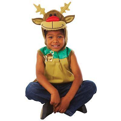 3-5 Anni Bambini Bambine renna Rudolph Bambino Costume da Natale cappuccio