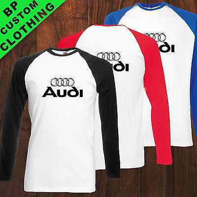 New Modern AUDI Inspired Baseball T-SHIRT, Sport Car, Logo Tee, Sizes S-XXL