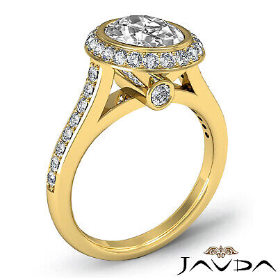 Cathedral Halo Pave Bezel Setting Oval Diamond Engagement Ring GIA H VS2 1.8 Ct 7