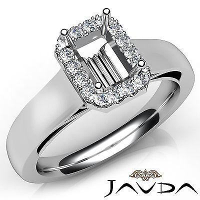 Emerald Semi Mount Ring - Emerald Cut Diamond Engagement Halo Prong Semi Mount Ring 18k White Gold 0.2Ct