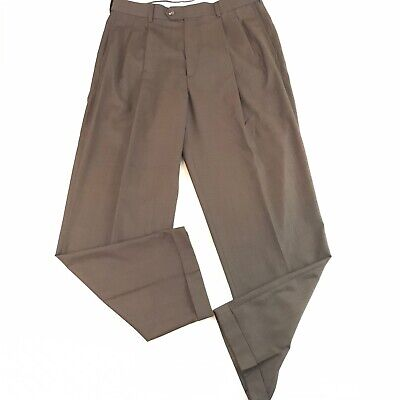 Roundtree Yorke Mens Dress Pants Brown 34x30 Waist Extender Easy Care