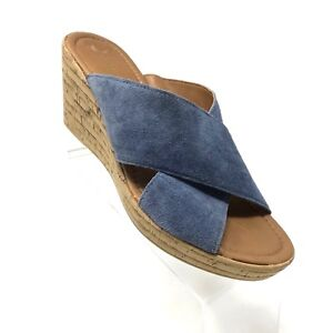 A. Giannetti Womens Size 7.5 Sandals Blue Suede Leather Cork Wedge heels Slides