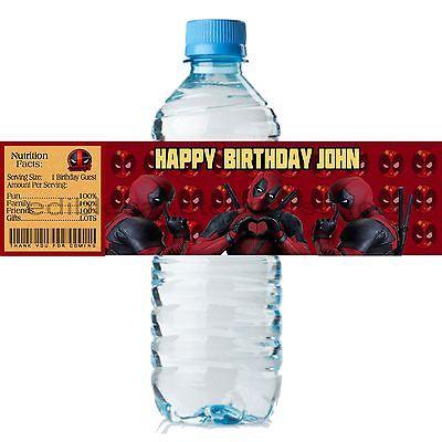 (20) Personalized DEADPOOL 2 x 8 Weatherproof Water Bottle Labels Party Favors - Deadpool Party Supplies