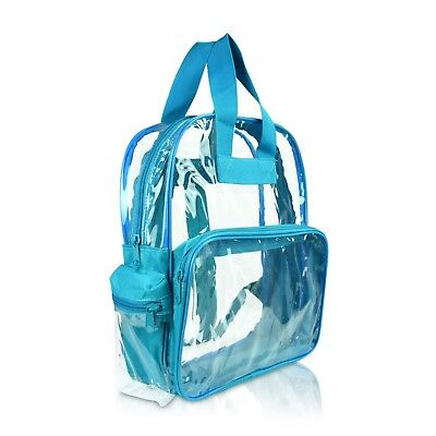 DALIX Clear Backpack Transparent School Bag in Teal Small Si