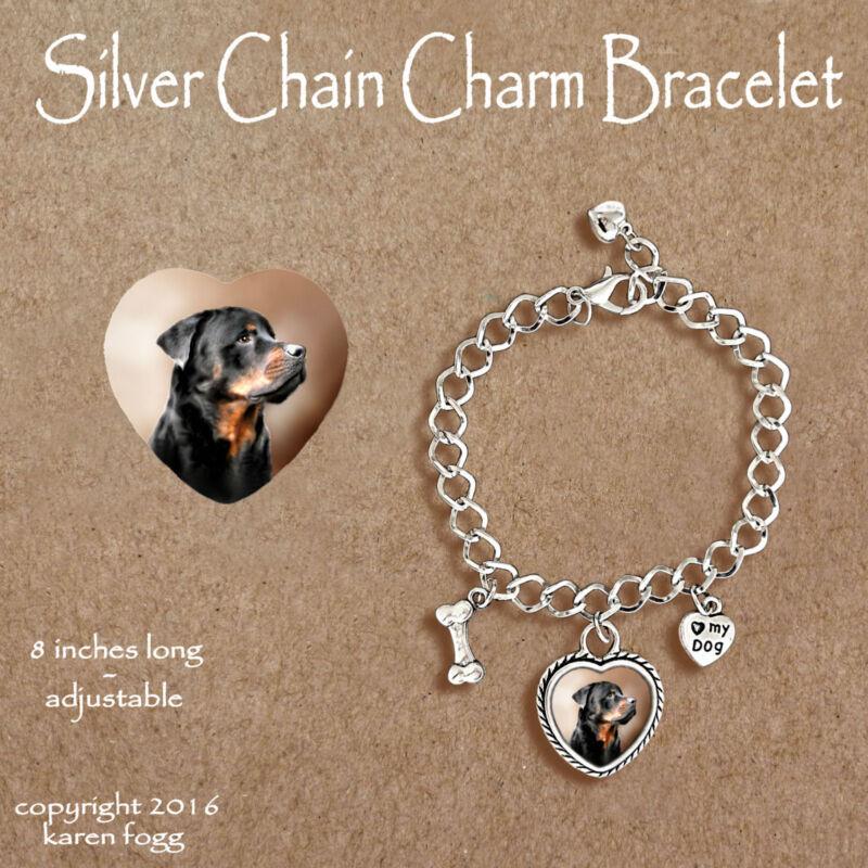 ROTTWEILER DOG - CHARM BRACELET SILVER CHAIN & HEART