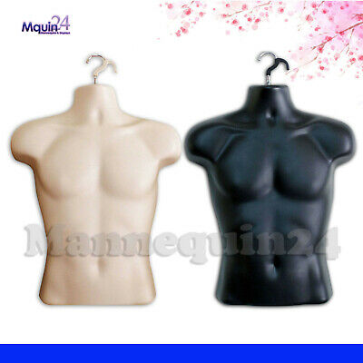 Black Flesh Mannequin Male Torsos Set - Mens Plastic Hanging Dress Forms