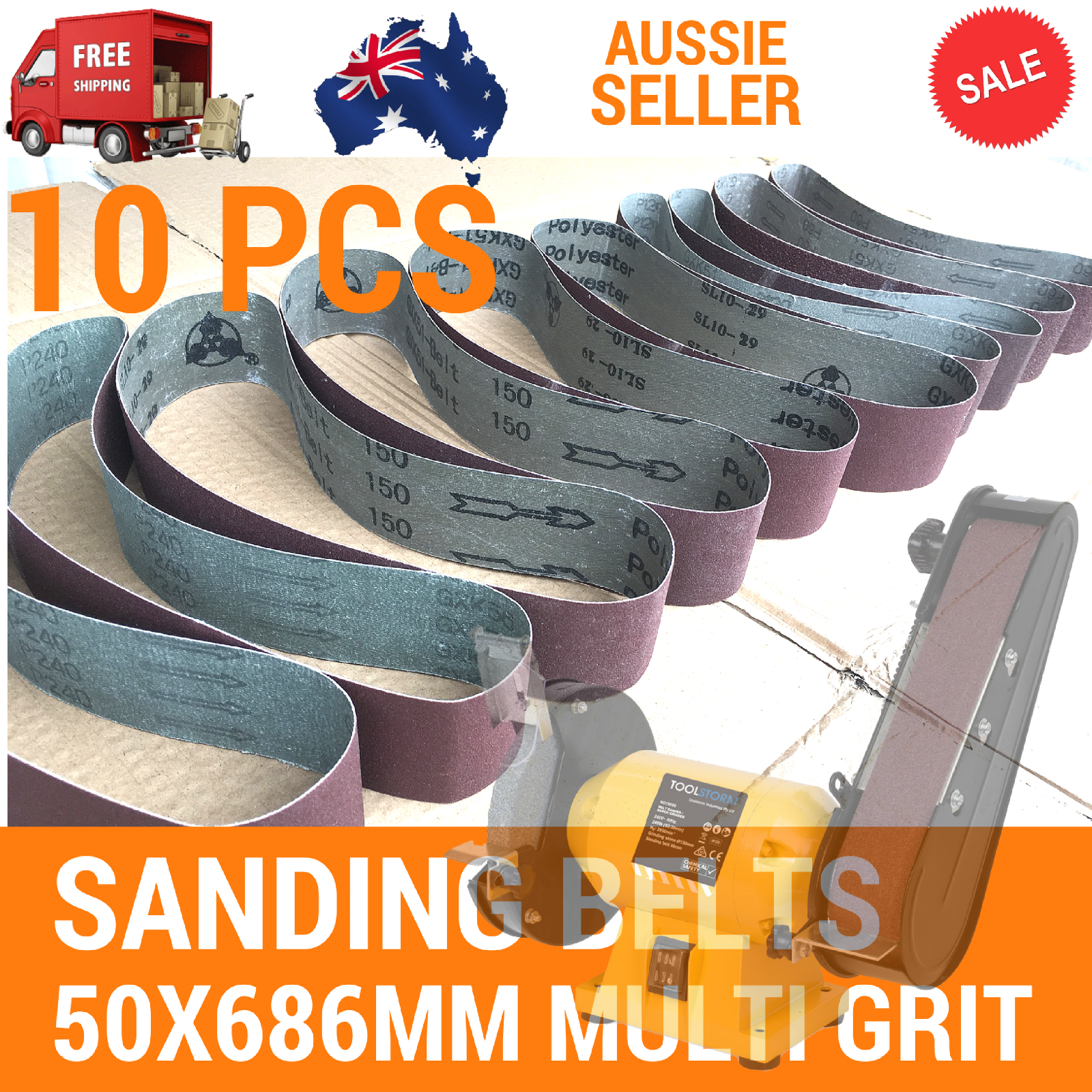 10x Sanding Belts 50x686mm Cloth Backed Linisher Fits