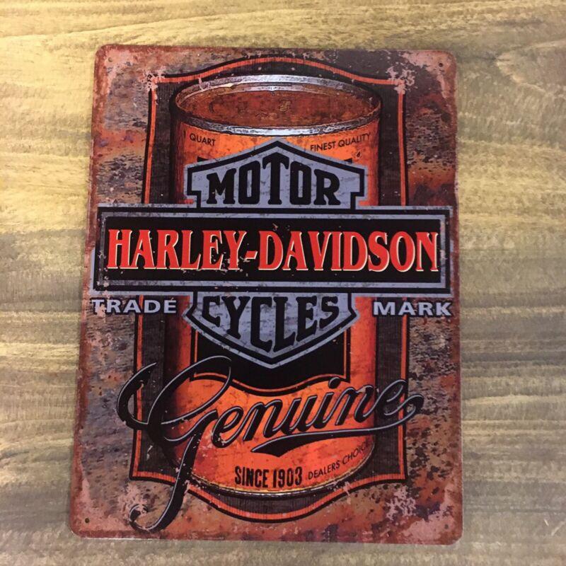 Harley Davidson Motorcycles Oil Gas Advertising Metal Sign 13x10 Orange Black