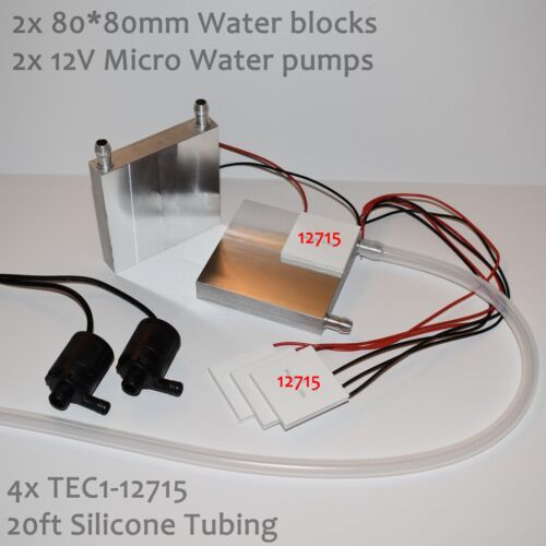 Large Water Cooling Peltier Kit - 4x TEC1-12715, 2 Pumps, 80*80 blocks, tubing
