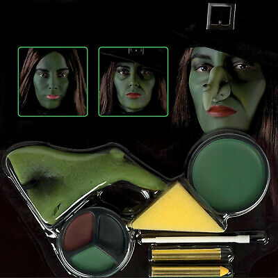Halloween Wicked Green Witch Ugly Nose Fancy Dress Face Paint Make Up Kit
