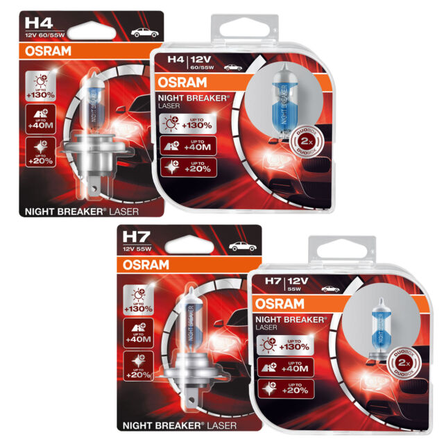 osram night breaker laser h7 car headlight bulbs 55w 130 twin duo ebay. Black Bedroom Furniture Sets. Home Design Ideas