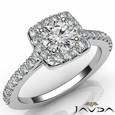Halo French Set PaveRound Diamond Engagement Anniversary Ring GIA F VVS2 1.21 Ct