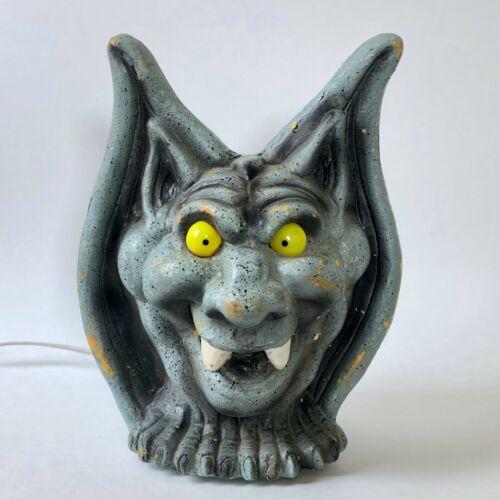 "Halloween Trendmasters Lighted Gargoyle Foam Blow Mold Statue Head light 11"" 90s"