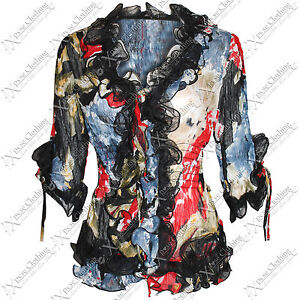 WOMEN LADIES FLORAL FRILL NECK CHIFFON BLOUSE TOP 3/4 SLEEVE TIE SHIRT SEXY TOPS