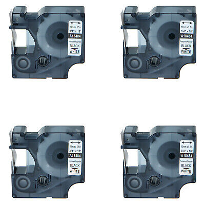 4 Pack Compatible For Dymo 18484 Permanent Label Tape Rhino 3000 5200 34 19mm