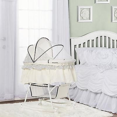 Baby Cradle Bassinet Cream Portable 2 In 1 Canopy Rocking Portable Wheel