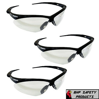 JACKSON NEMESIS SAFETY GLASSES BLACK FRAME CLEAR LENS 25676 SHOOTING (3 PAIR) (Nemesis Glasses)