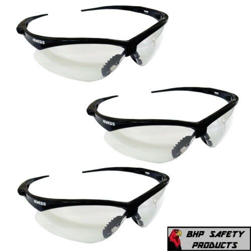 JACKSON NEMESIS CLEAR LENS SAFETY GLASSES BLACK FRAME 25676 SHOOTING (3 PAIR)
