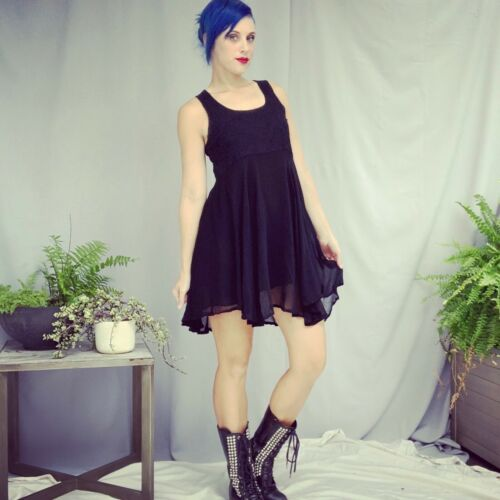 Vintage Dress S/M Black Sheer Chiffon Skater Style Empire Waist Babydoll Mini