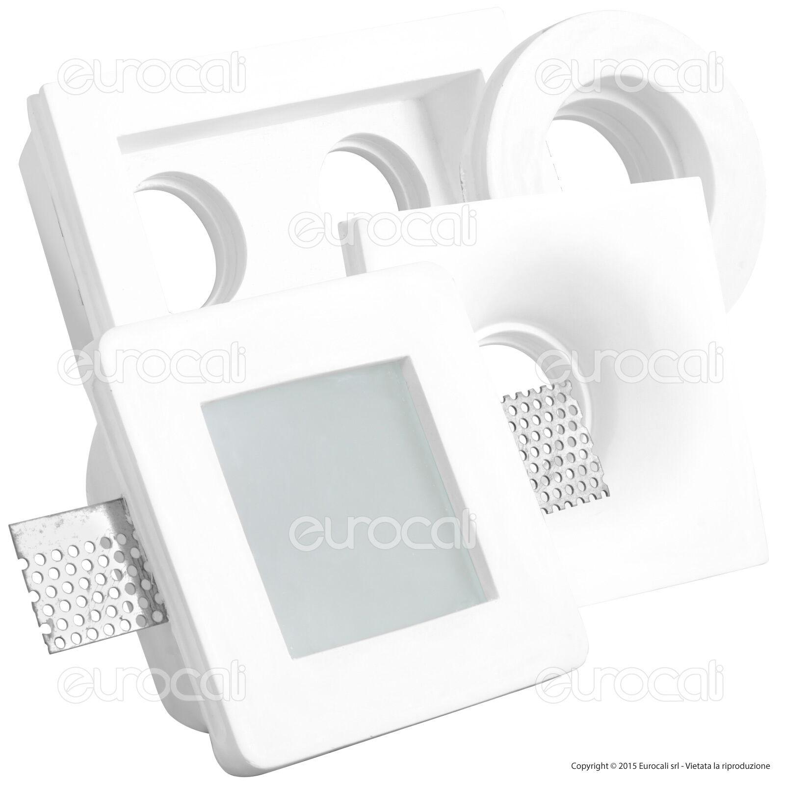 Porta Faretto FISSO in GESSO da Incasso per Lampadine LED Portafaretto GU10 COB