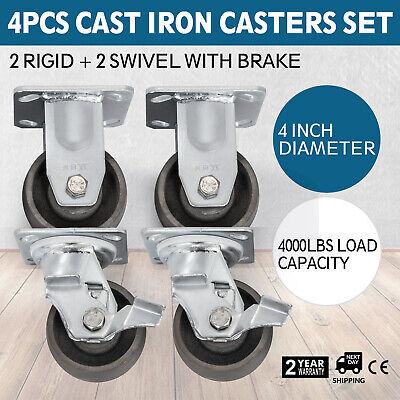 4 Heavy Duty Cast Iron Casters Hub Non Skid Mark 2 Swivel Brake 2 Rigid