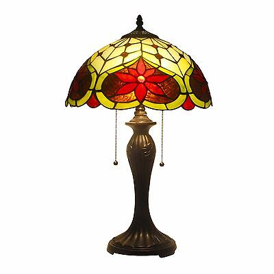 "Tiffany Style Lamp Stained Glass 2 Lights Table Lamp 14"" Shade Handcrafted"