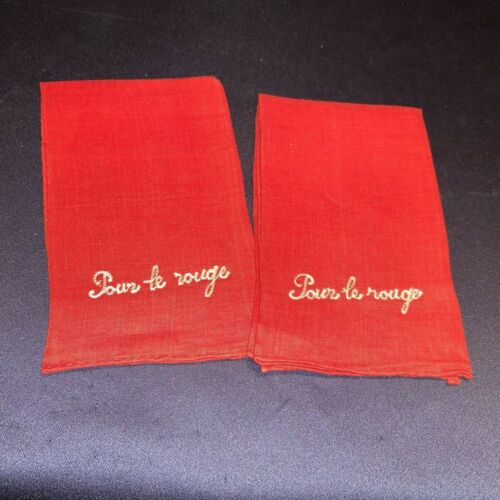 """Pair Vintage C1940-50 Embroidered Red Lipstick Towels """"Pour le Rouge"""""""