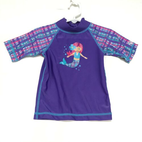 UV Skinz MERMAID Rash Guard Top Baby Toddler 12 / 18 Mos Purple Mock Short Sl