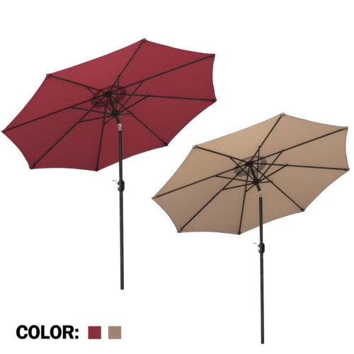 9ft Patio Umbrella Market Table Umbrella Push Button Tilt Crank Red/Tan Garden Garden Structures & Shade