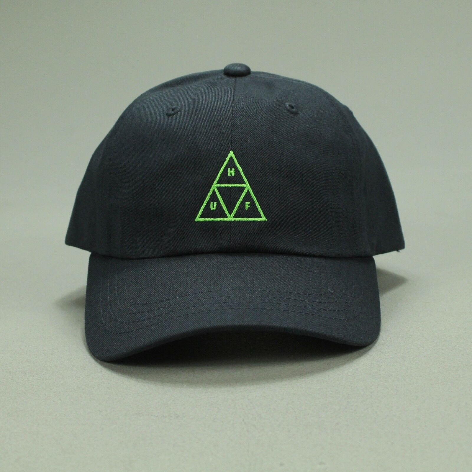 041629ff29ff1 Details about HUF Triple Triangle Curved 6 Panel Hat Brand New 6 Panel Cap  - Navy