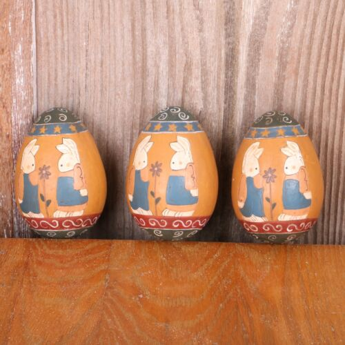 3 Vintage Painted Rabbits Wood Eggs