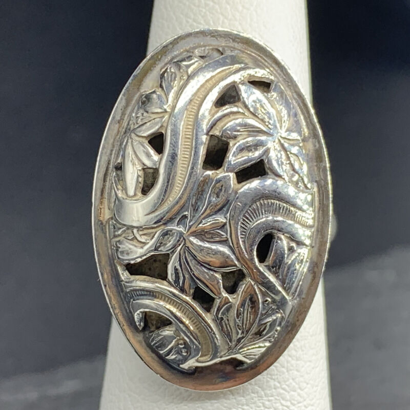 Vintage 925 Sterling Silver Ring Victorian Style  Size 4.75