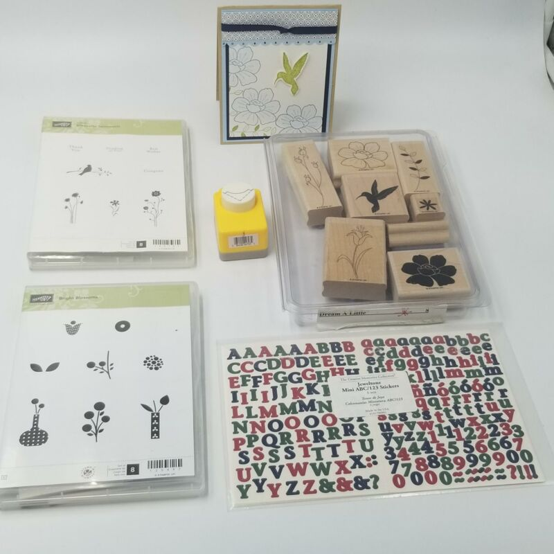 All Night Media Corner Punch Stampin Up Hummingbird Rubber Stamps ABC 123 Lot 5