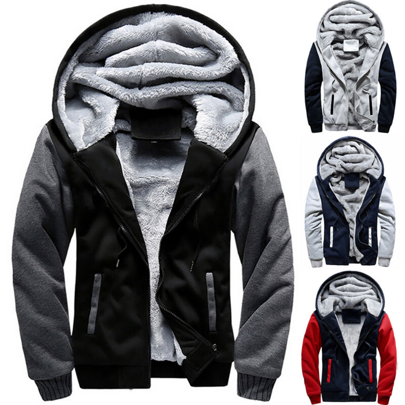 US Men's Hoodie Jacket Winter Warm Fleece Lined Hooded Zip U