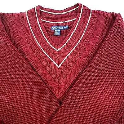 Nautica V Neck Chunky Sweater 100% Cotton Mens Size XL Maroon White