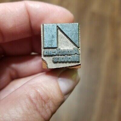 Vintage Printing Letterpress Printers Block American Motors