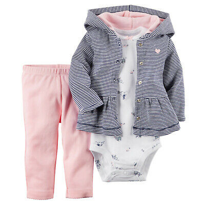 Carters 9 12 Months Hooded Cardigan Bodysuit Pants Set Clothes Pink Blue