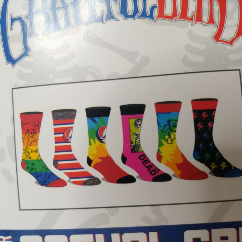 Grateful Dead Socks 6 Pack Steal Your Face Bears Rainbow Bertha Run Small USBlue