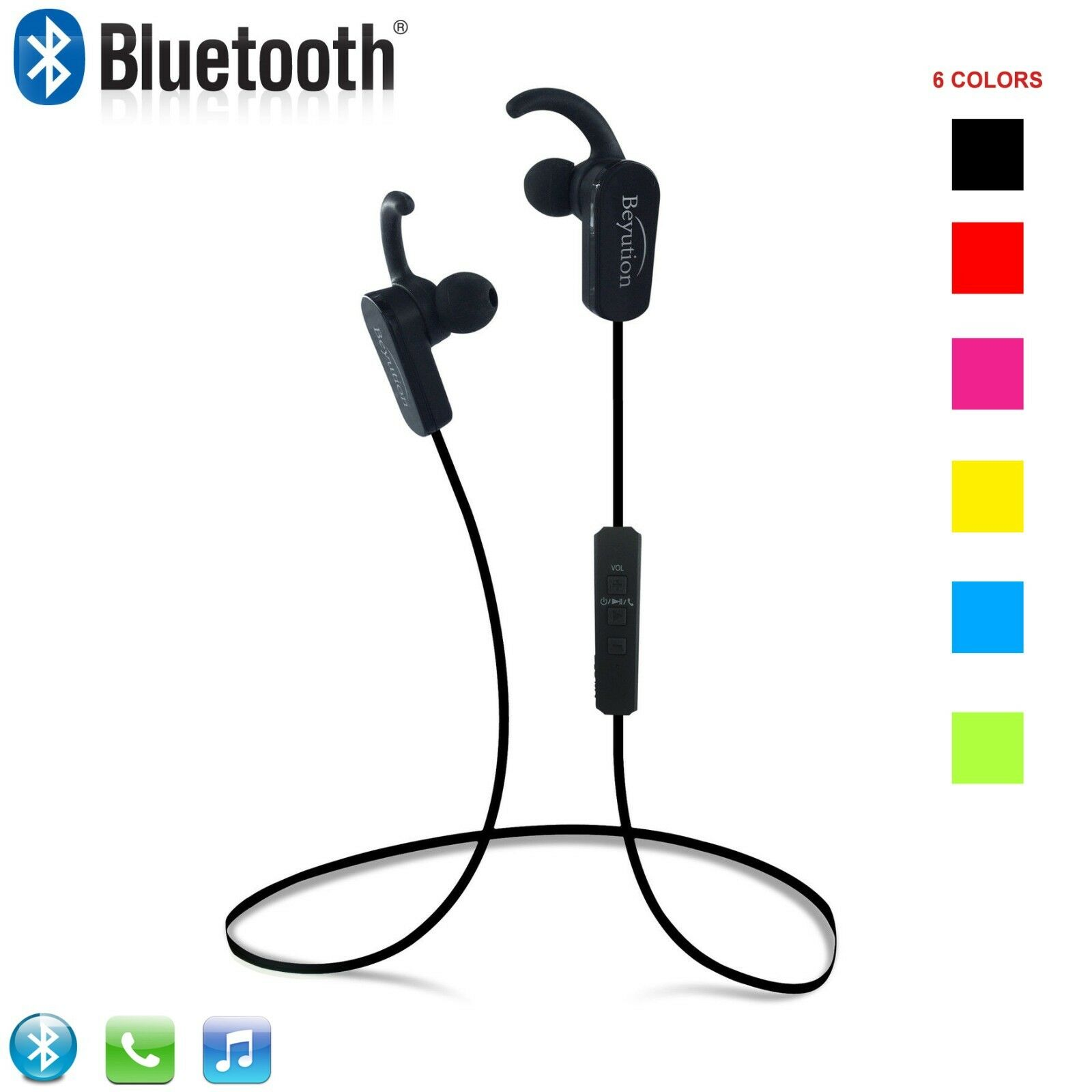New Sport Wireless Bluetooth Headset Stereo Headphones for i
