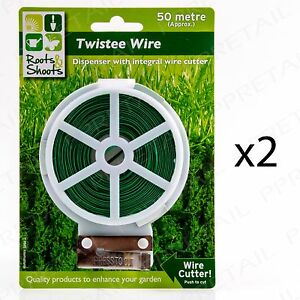 2 x GREEN PLASTIC COATED 50m Garden Wire Tie Reel & Cutter Secure Plant Training