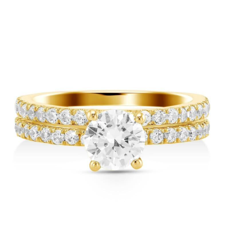 1.75 Ct G Si2 Round Diamond Engagement Ring With Matching Band 14k Yellow Gold