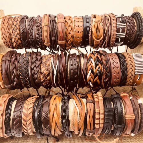 Wholesale 50 Pcs Handmade Mixed Retro Cuff Leather Bracelets Fashion Party
