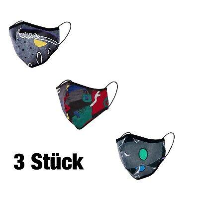 3 Stück Mund Nasen Maske Behelfs-Mundschutz Baumwolle waschbar mit Gummi Bunt