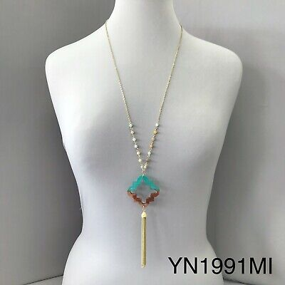 Long Gold Chain beaded Half Wood Mint Clover Cut Out Tassel Pendant Necklace